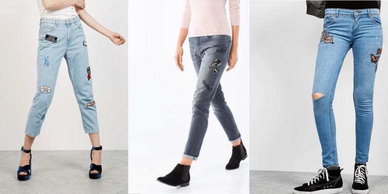 džíny s výšivkami