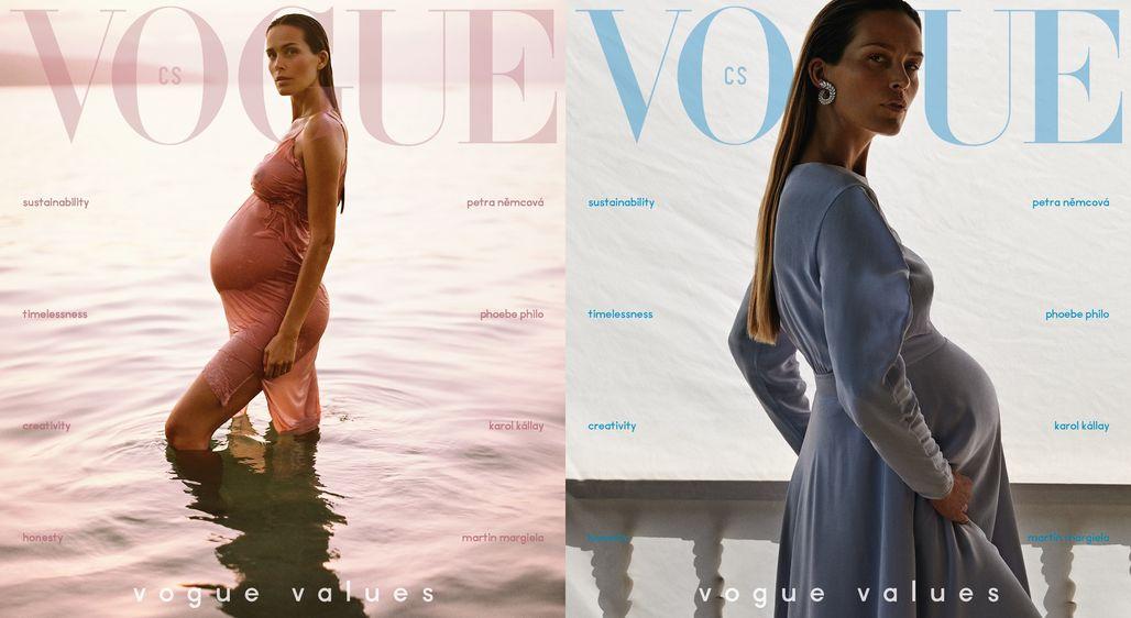 Lednovou Vogue CS zdobí těhotná Petra Němcová